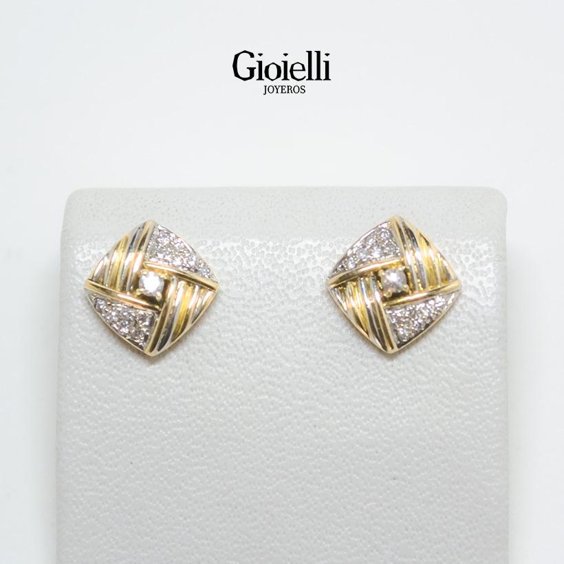 aretes en oro con diamantes