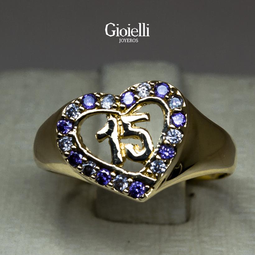 anillo 15 años en oro