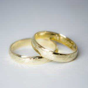Argollas de matrimonio El Señor de los anillos en Oro 18 kilates