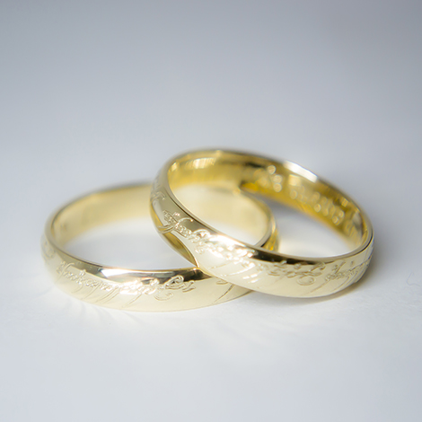 b734362fd8f1 Argollas de matrimonio El Señor de los anillos en Oro 18 kilates