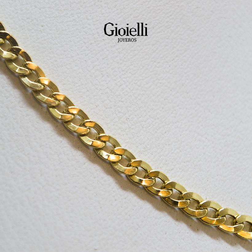 Cadena martillada eslabón redondo en Oro18k