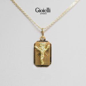 placa cristo diamantado en oro 18k