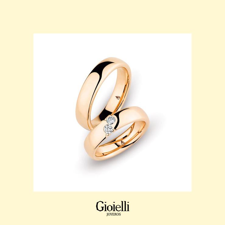 Argollas de matrimonio en Oro 18k con diamante