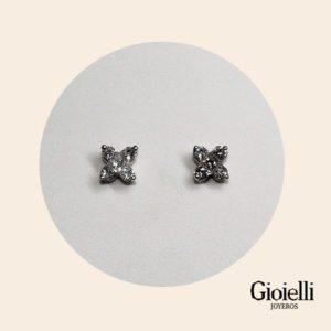 Topos flor en Oro blanco 18k con Diamantes